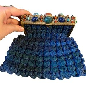 Vintage 1960's blue crochet clutch with stones